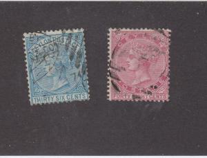 CEYLON  (MK988) # 70-71 FVF-USED 36,48c QUEEN VICTORIA ISSUES CAT VALUE $40