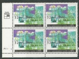 USA # 2980 Woman Suffrage Plt.Blk/4 11111- LL  (1) Mint NH