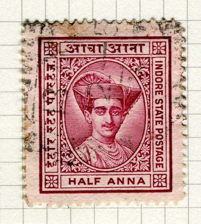 INDIA;   INDORE 1927 early Holkar II issue fine used 1/2a. value