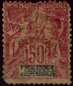 New Caledonia #54 Unused F-VF pulled perf SCV$67.50...French Colonies are Hot!