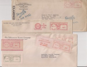 Type G METER STAMPS: 8 different incl PUERTO RICO CENSORED AIRMAIL to US Cool!