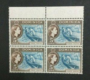 MOMEN: DOMINICA SG #147 1957 BLOCK MINT OG NH LOT #208652-3033