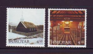 Faroe Islands Sc 328-9 1997 Hvalvik Church stamps mint NH