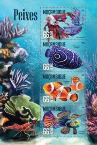 Mozambique MNH S/S Gorgeous Fish Marine Life 2016