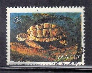 MALTA  SC# 564 **USED** 1979  5c TURTLE SEE SCAN