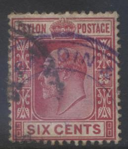 CEYLON -Scott 170- KEVII - Definitive- 1903- Wmk 2- Used -Single 6c Stamp1