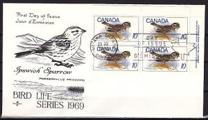 Canada, Scott cat. 497 only. Bird value, Block of 4. First day cover. ^
