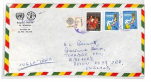 BOLIVIA Cover La Paz Air Mail UN UNTIED NATIONS World Food Programme c1979 BT247