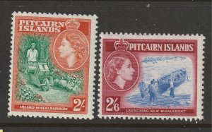 Pitcairn Is the MH 2/- & 2/6 from the 1957 set