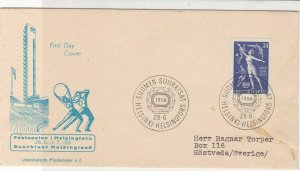 Finland 1956 FDC Helsinki Slogan Wreath Cancels Stamps Cover ref 22084