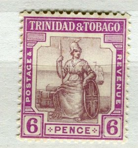 TRINIDAD; 1913 early Britannia issue Mint hinged 6d. value