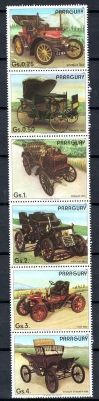 Paraguay MNH Strip Of 6 Antique Cars 1986