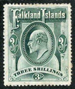 Falkland Is SG49 KEVII 3/- Green M/Mint (hinge remainder)