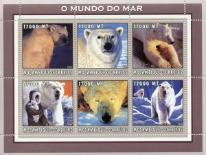 Mozambique Wild Animals Stamps 2002 MNH Polar Bears Bear 6v M/S
