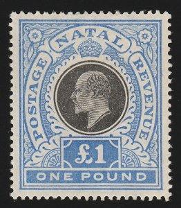 NATAL 1902 KEVII £1 black & bright blue.
