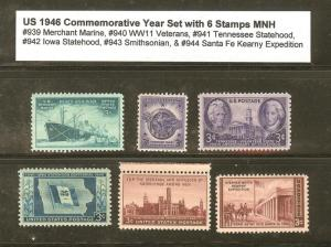 U.S. 1946 Commemorative Year Set 6 MNH Stamps