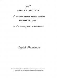 Kohler: Sale # 293  -  John R. Boker, Jr.; Hanover part I...