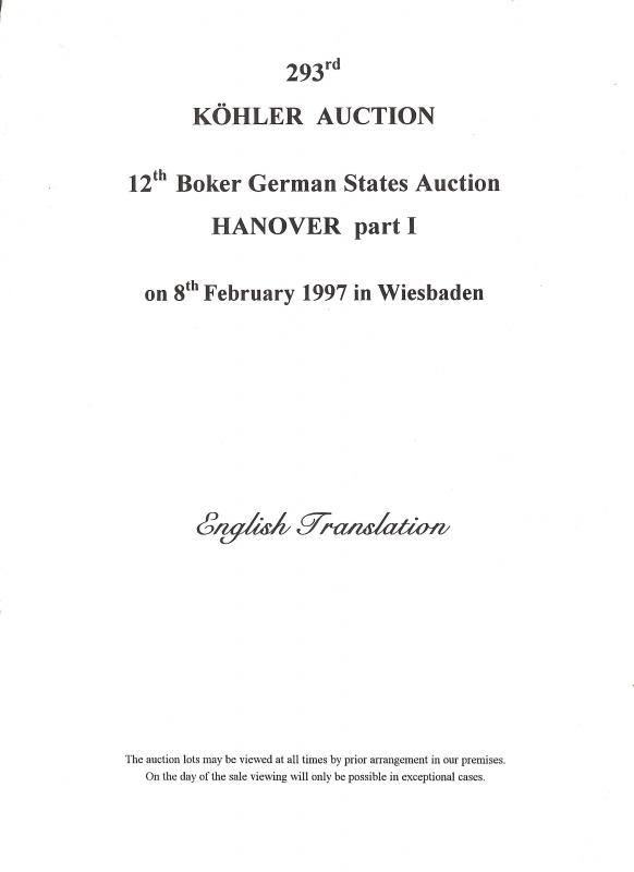 Kohler: Sale # 293  -  John R. Boker, Jr.; Hanover part I...