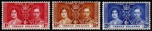 British Virgin Islands Scott 73-75 (1937) Mint H VF Complete Set M