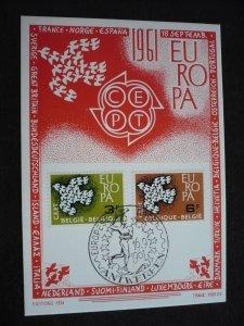 Europa 1961 - Belgium - Set - First Day Cancellation