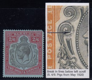 Bermuda, SG 89e, MLH (TR corner pull) Break in Lines Below Left Scroll variety