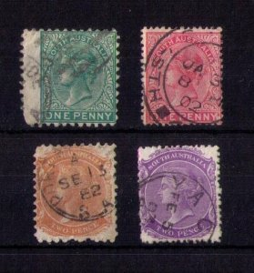 SOUTH AUSTRALIA (LOT OF FOUR) SCOTT #54,57 W.Others Early Australian States F-VF