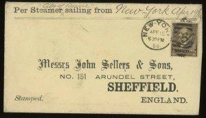 #205 1884 Transatlantic Cover New York to England (STEAMER City of Rome)