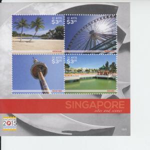 2015 St Kitts Singapore 2015 Sites & Scenes MS4 (Scott 916)