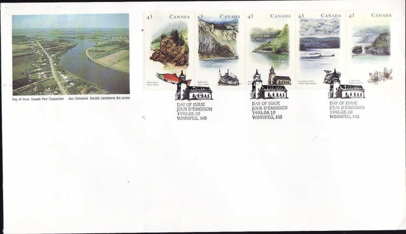 Canada-Sc#1489a-stamps on FDC-Heritage Rivers-1993-