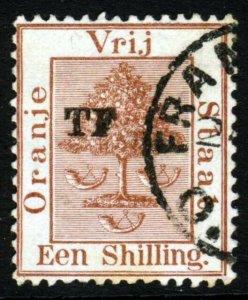 ORANGE FREE STATE 1898 Telegraph Stamp TF Overprint on 1s. Brown SG T35 VFU