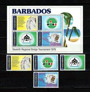 BARBADOS - 1978 - BRIDGE TOURNAMENT - CARIBBEAN - CARDS + MINT NH SET + S/SHEET!