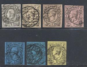 Saxony  Mi 8, 9a, 9b signed, 9c 10a.10c signed ,11 used  VF
