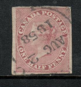 Canada #8 Extra Fine Used With Ideal Aug 2 1858 CDS Cancel Few Faults Light Thin