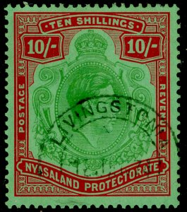 NYASALAND PROTECTORATE SG142, 10s emerald & dp red/pale grn, FU, CDS. Cat £80.