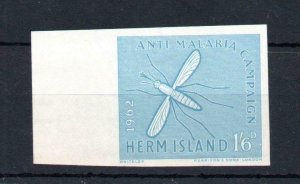 HERM: 1/6 ANTI-MALARIA IMPERFORATE COLOUR TRIAL IN BLUE ON UNGUMMED PAPER
