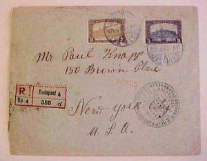 HUNGARY  HELP 1921 REGISTERED 2 US BACKSTAMPS