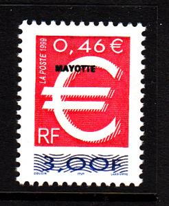Mayotte MNH Scott #125 MAYOTTE overprint on 3fr France Dual currency