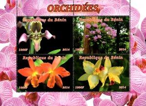 Benin 2014 Orchid Flowers 4v Mint Souvenir Sheet S/S. (#05)