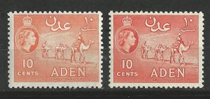 Aden # 49 ,49a   QE II Perf. 12  Camels  - 2 shades (2) VF Unused VLH