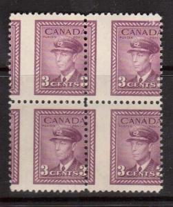 Canada #252 Mint Dramatic Misperf Block Of Four