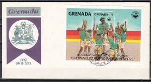 Grenada, Scott cat. 1311. 4th Caribbean Cuboree s/sheet. First Day Cover.
