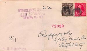 U. S., 1899 Registered Cover sent from Rye, N.Y., to New York City