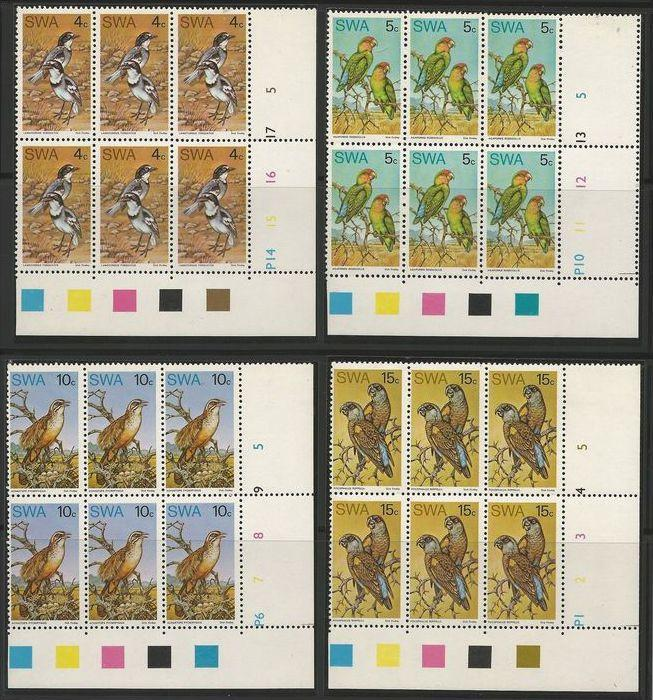 South West Africa 1974 Native Birds Set in Control Blocks of 6. MNH