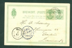 Danish West Indies. DWI.Stationery.1905.Christianst. St.Thomas.1+1 Cent uprated.