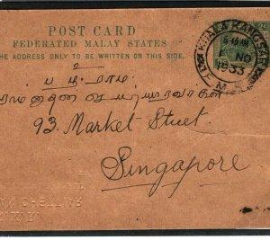 MALAYA FMS Stationery 2c 'TIGER' Card *Kuala Kangsar* CDS Singapore 1933 MS1106