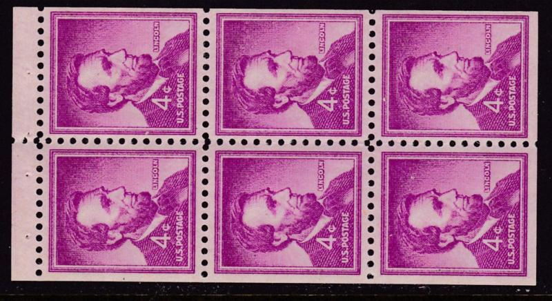 United States 1958 Scott 1036a 4c Abrahan Lincoln Booklet Pane X6 VF/NH