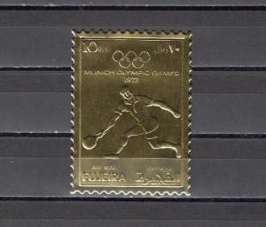 Fujeira, Mi cat. 1280 A. Munich Olympic Tennis Player Gold Foil issue. *