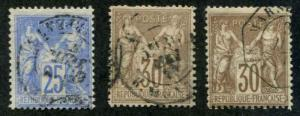 France SC# 81a, 82, 82a Peace & Commerce USED SCV $2.90