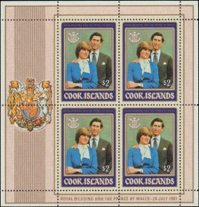 1981 Cook Islands #659-660, Complete Set(2), Sheets of 4, Never Hinged