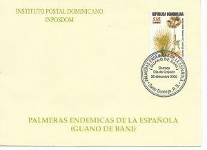 DOMINICAN REPUBLIC 2002, NATIVE PALM TREE GUANO DE BANI, FIRST DAY COVER - FDC